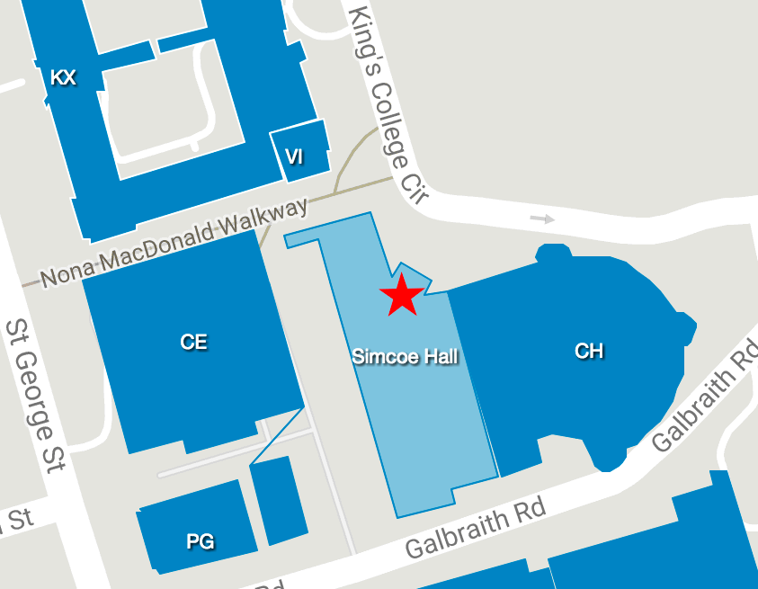 Map showing the location of Simcoe Hall at U of T's St. George campus.