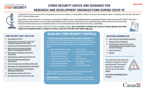 Screenshot of Cyber Security advice and guidance for research and development organizations during COVID-19